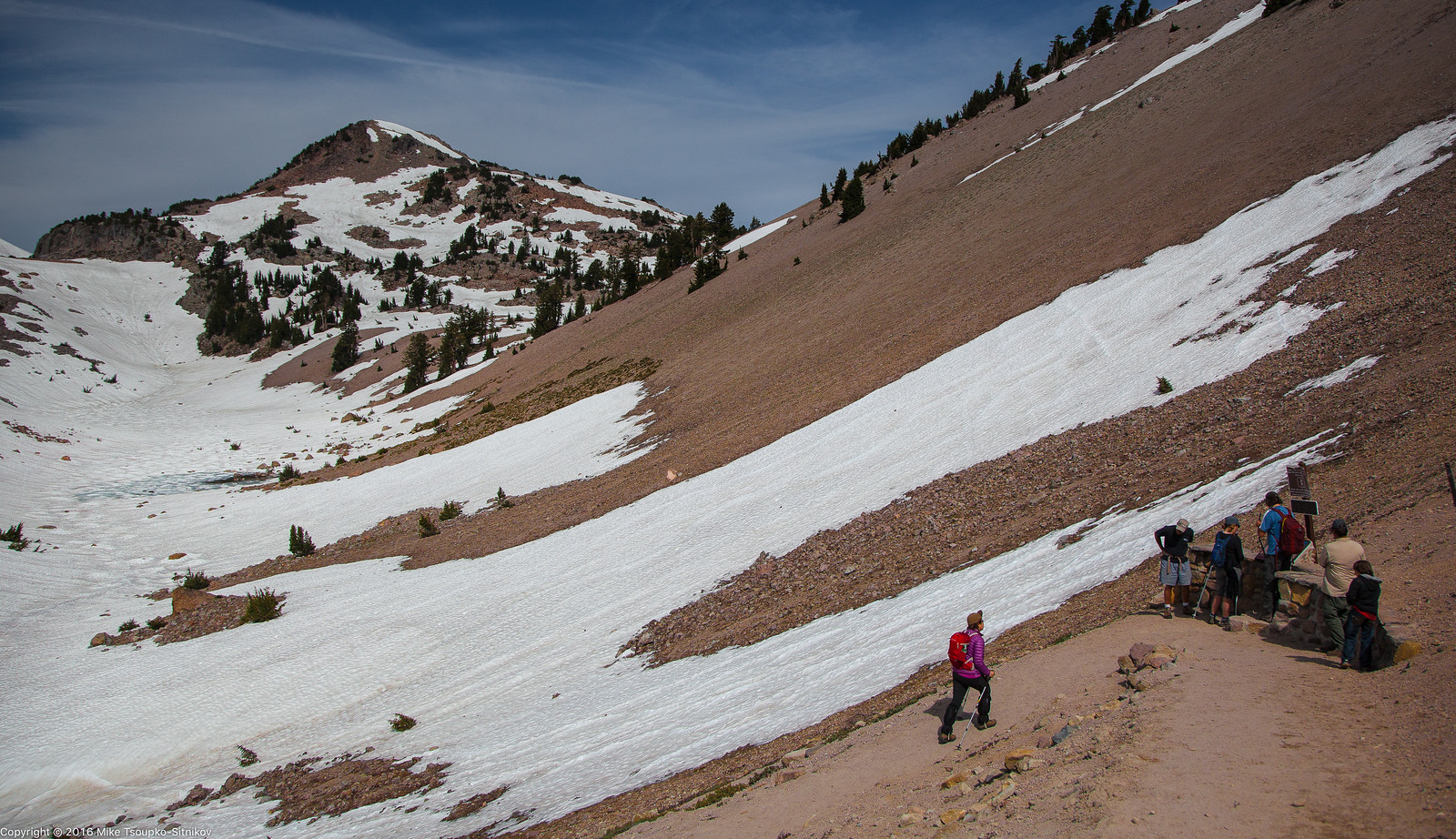Hiking up Lassen Peak