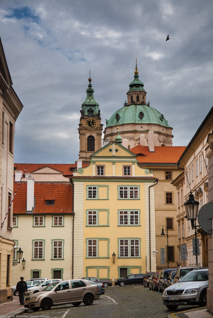 Prague. The Lesser Town. The Church of St. Nicolas in the backdrop