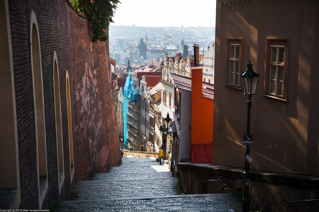 Prague. Hradčany. An alley heading into the Lesser Town