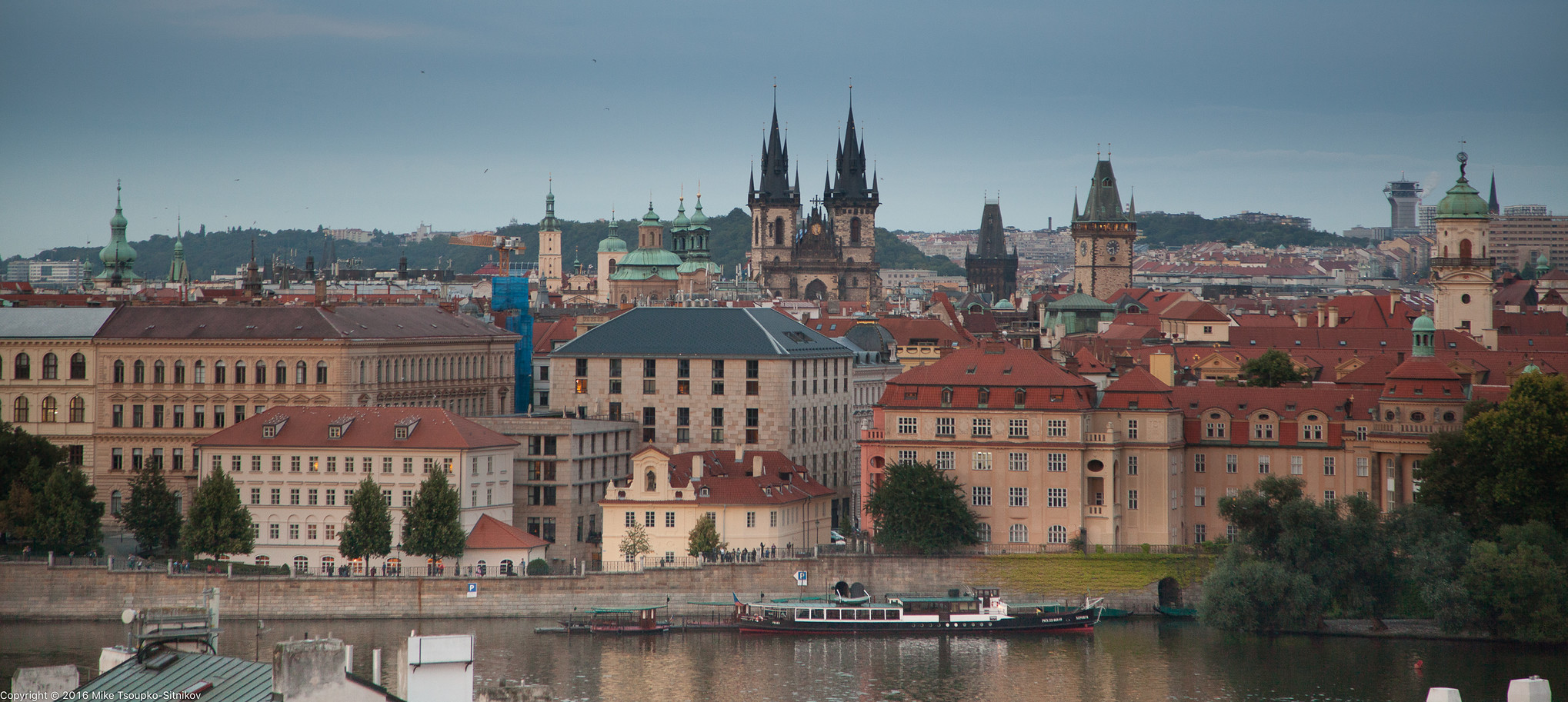 Prague. The view of the Old Town from the West tower of Charles Bridge