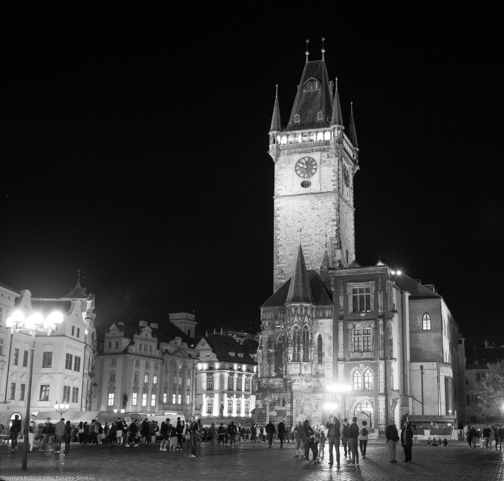 Old Town Square: the Old City Hall and the clock tower
