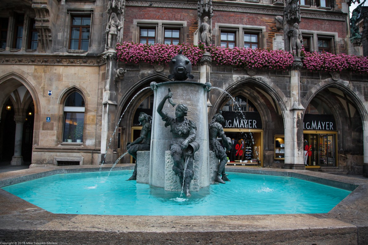 Marienplatz. The Fish Fountain