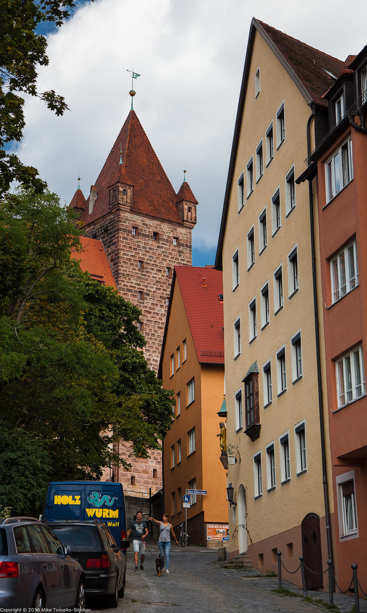 """Nuremberg Castle: the 14-th century Luginsland (""""Looking over the land"""") Tower"""
