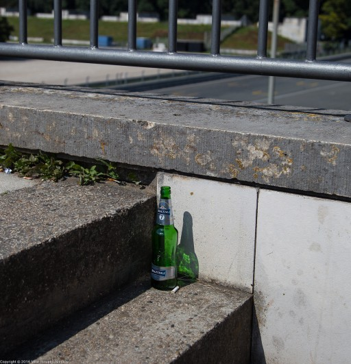Nuremberg. Zeppelinfeld. A bottle of Baltika o the steps of the main tribune.