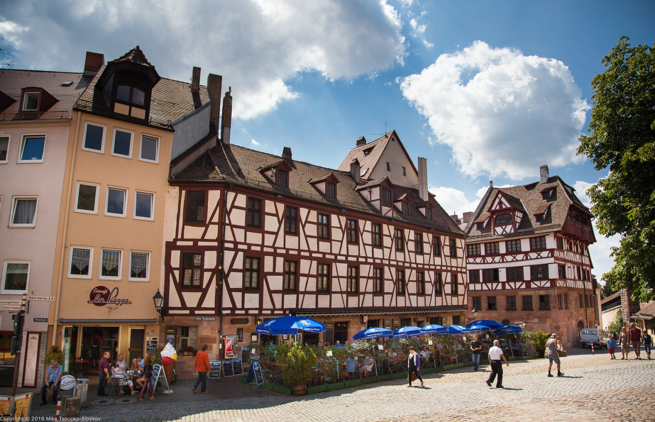 Nuremberg. Tiergärtnerplatz. Dürer's house in on the right.