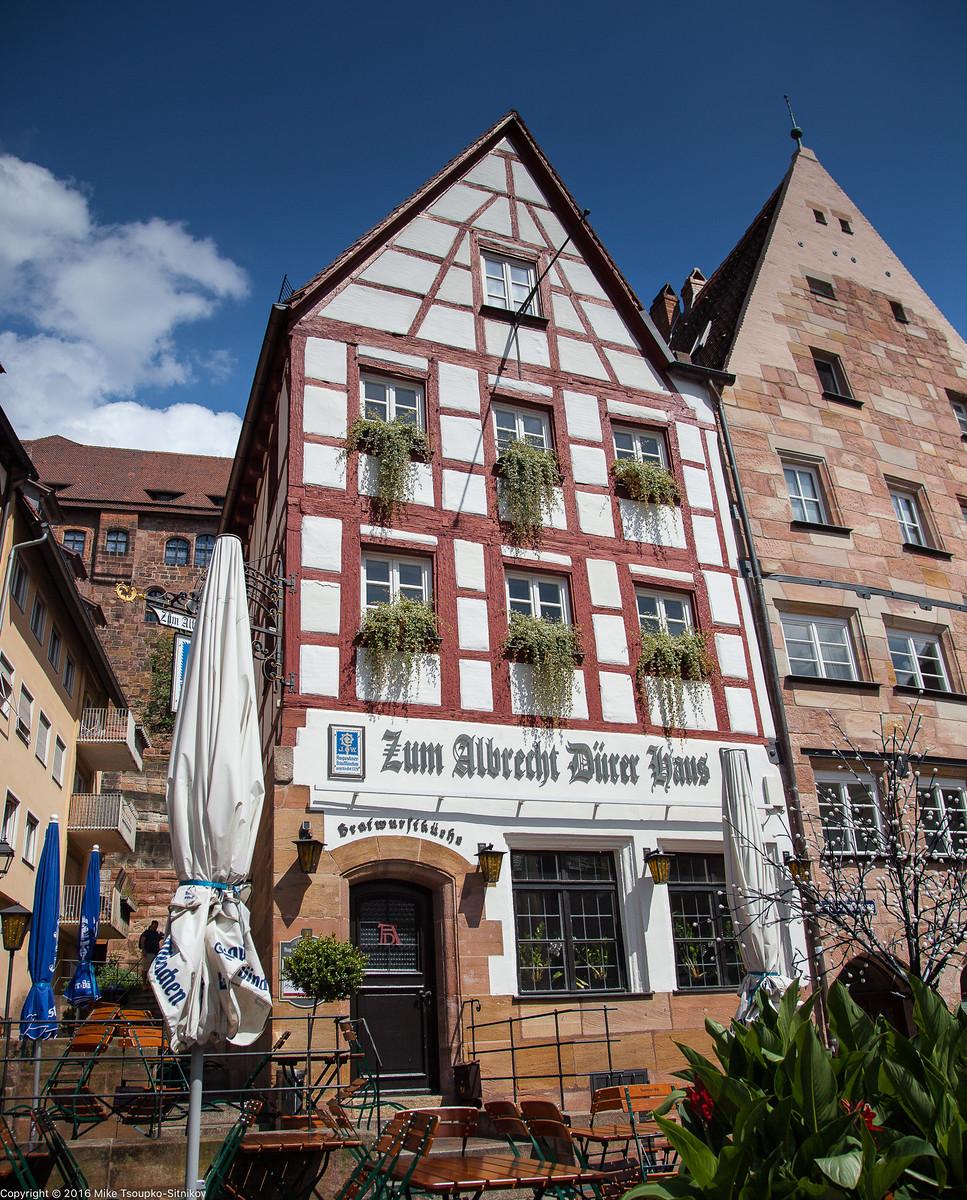 "Nuremberg. Tiergärtnerplatz. Sausage joint ""At the Albrecht Dürer's House"""