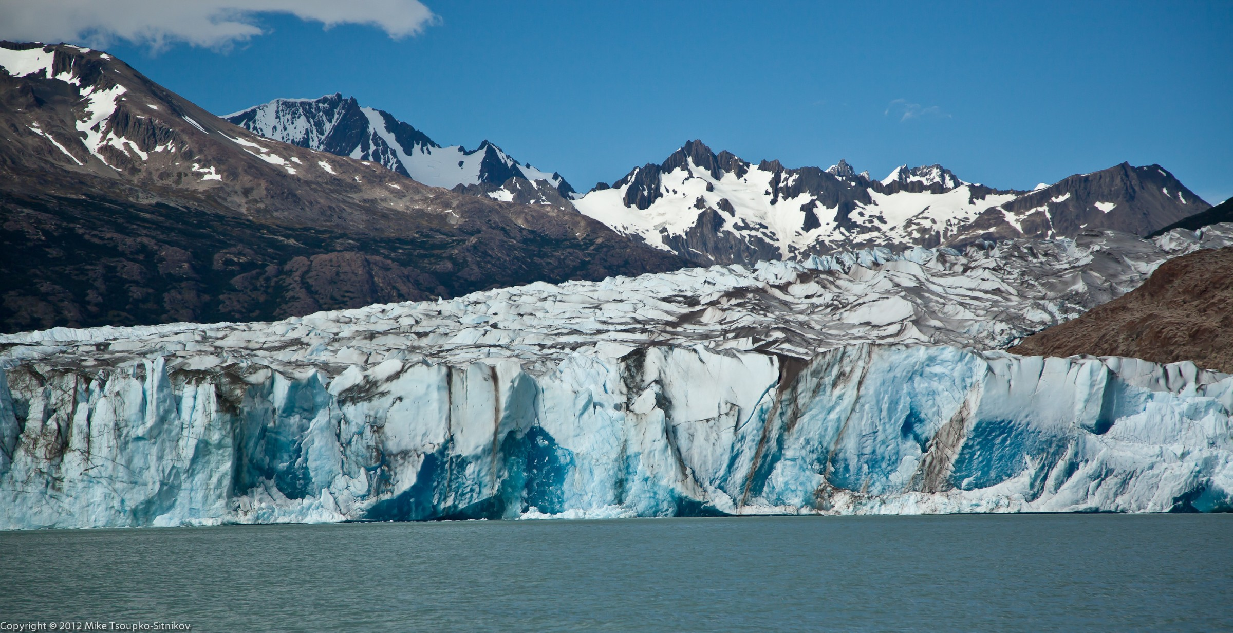 Viedma Glacier flowing into the lake
