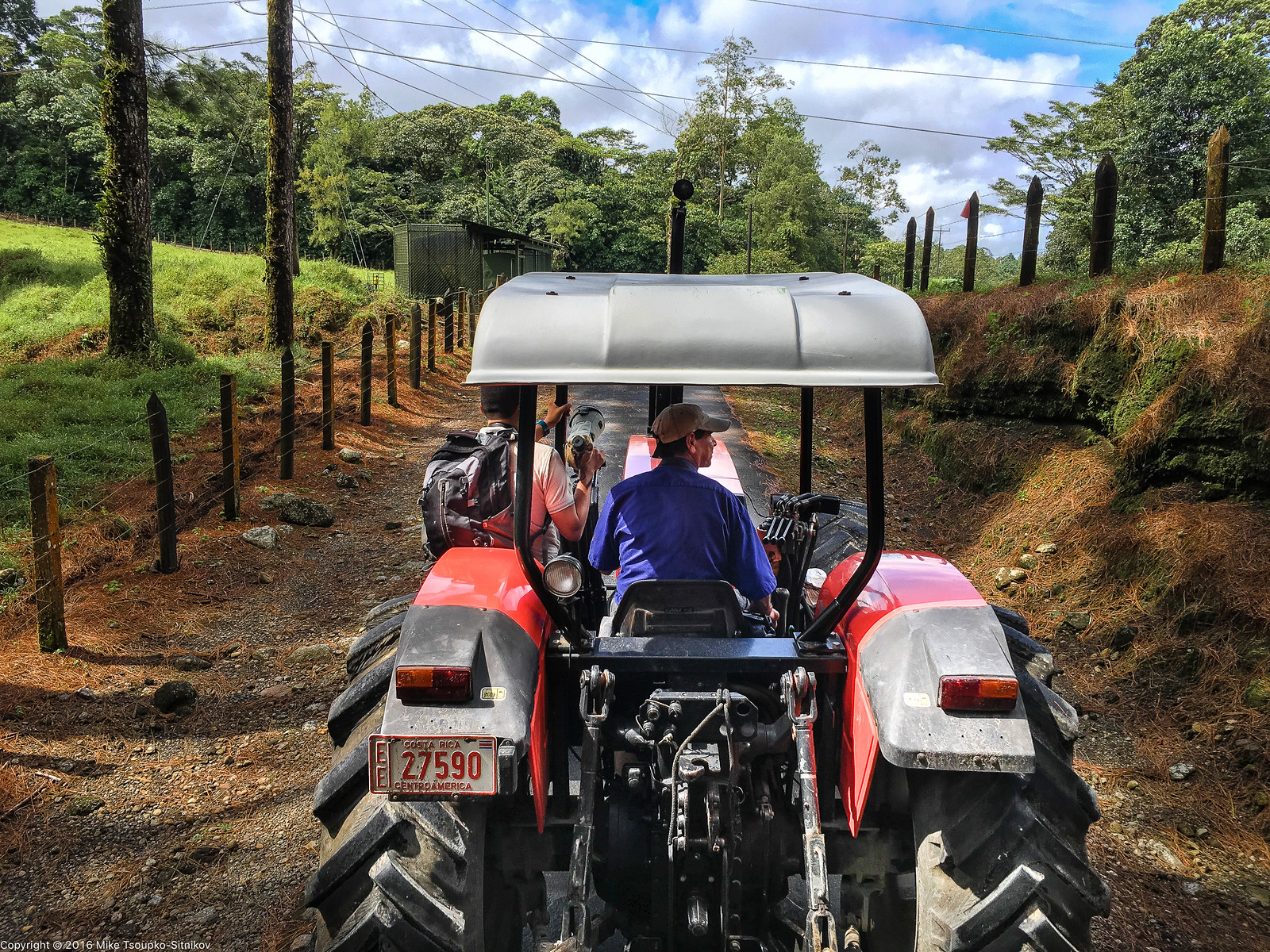A guided tractor trailer ride in Arenal Volcano National Park