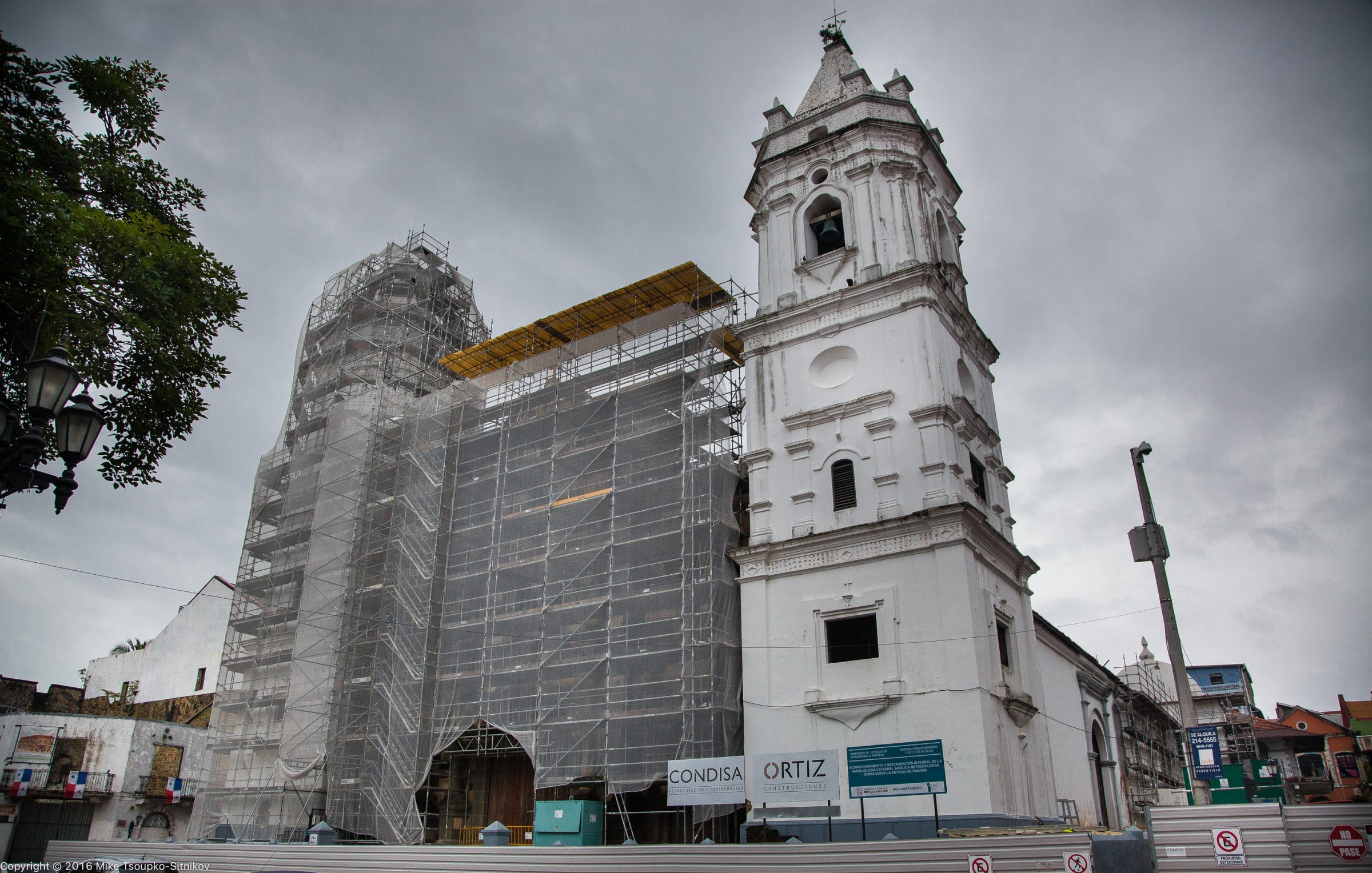 Panama City: the Metropolitan Cathedral of Panama under restoration